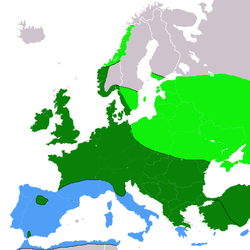 répartition en Europe