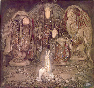 Trolls et princesse, illustration de John Bauer