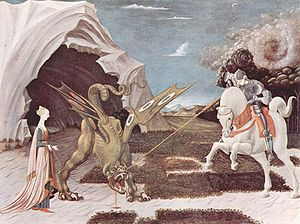 Saint Georges pourfendant le dragon, tableau de Paolo Uccello, v.1456