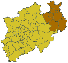 Localisation du district en Rhénanie-du-Nord-Westphalie